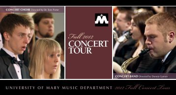 Fall Concert Tour Postcard - University of Mary