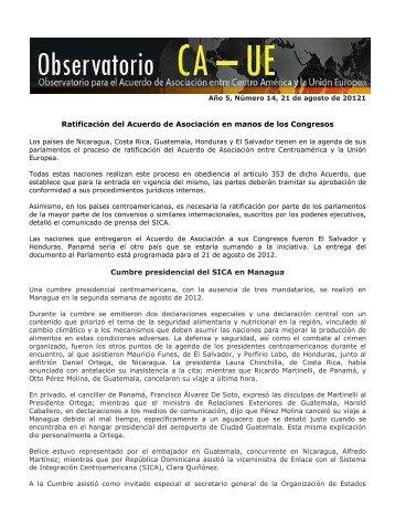Boletin Observatorio CA-UE, año 5, N° 14, 21 de agosto de 2012