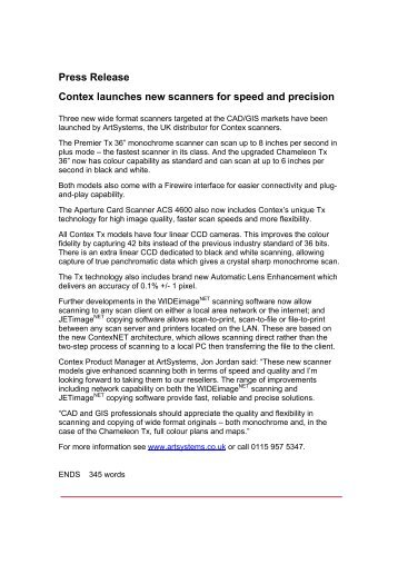 Press Release Contex launches new scanners for ... - Art Systems
