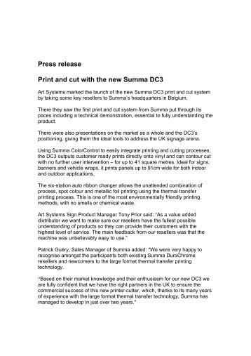 Press release Print and cut with the new Summa DC3 - Art Systems