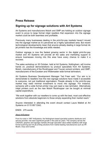 Press Release Signing up for signage solutions with Art Systems