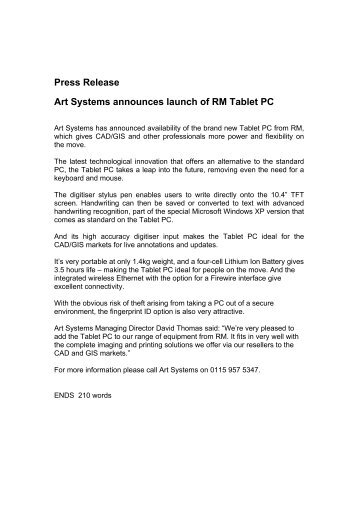 Press Release Art Systems announces launch of RM Tablet PC