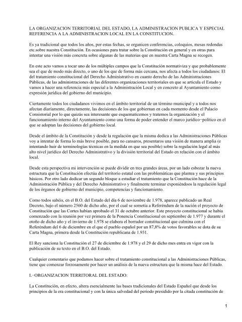 La Organizacion Territorial Del Estado La Administracion