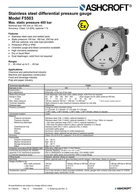 Stainless Steel Differential Pressure Gauge Model F5503 Ashcroft