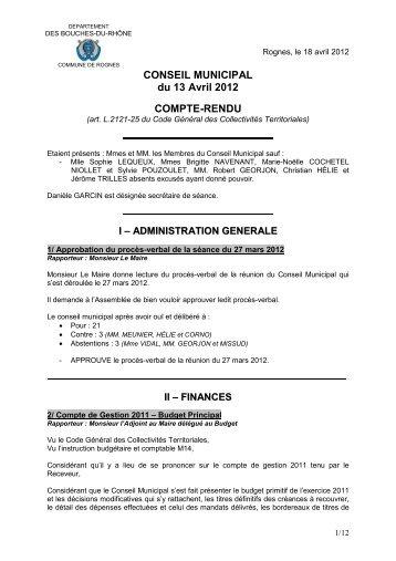 CONSEIL MUNICIPAL du 13 Avril 2012 COMPTE-RENDU - Rognes