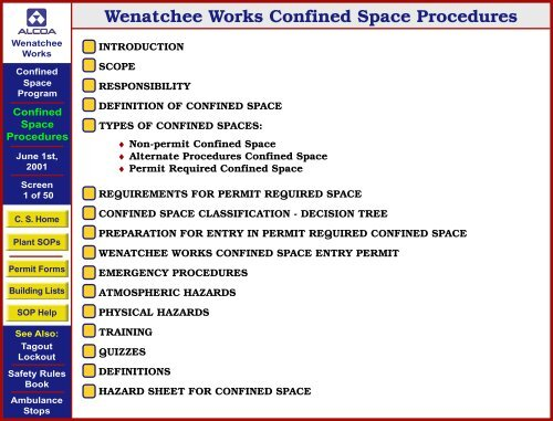 Wenatchee Works Confined Space Procedures