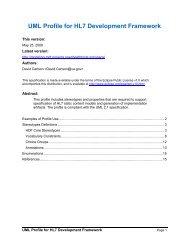 UML Profile for HL7 Development Framework