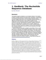 1. GenBank: The Nucleotide Sequence Database