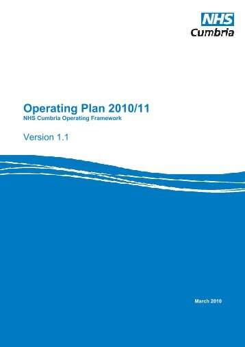 Operating Plan 2010/11 - NHS Cumbria