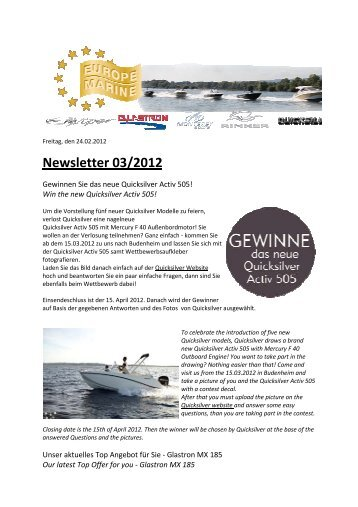 Newsletter 03/2012 - Europe Marine