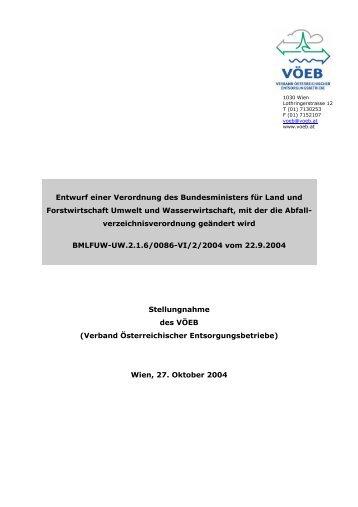 Entwurf einer Verordnung des Bundesministers für Land ... - VÖEB