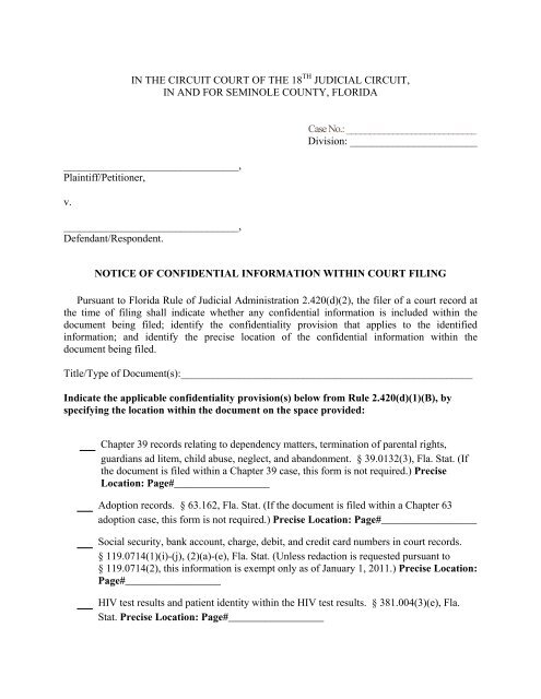notice of confidential information within court filing