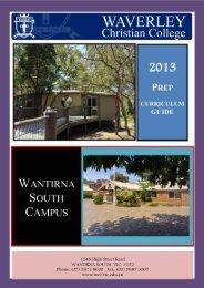 Prep Curriculum Guide - Waverley Christian College
