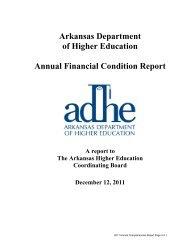 Financial Condition Report 2011 - Arkansas Department of Higher ...
