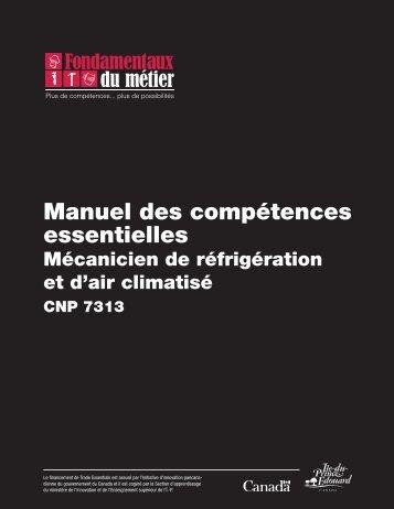 Manuel des compétences essentielles : Mécanicien de réfrigération ...
