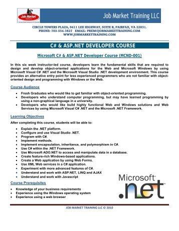 C# & ASP.NET DEVELOPER COURSE - Job Market Training LLC