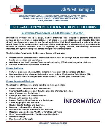 informatica powercenter 8.6 etl developer course - Job Market ...