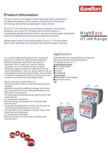 GT-HR range brochure - Gaston Battery Industrial Ltd.
