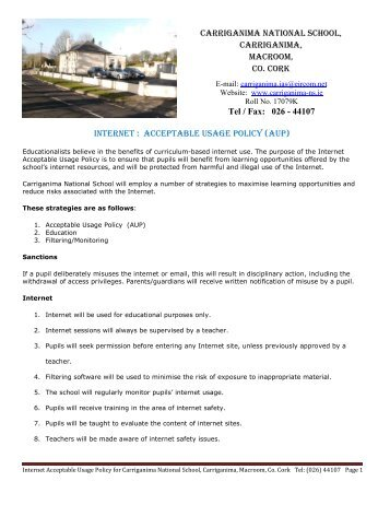 Internet : Acceptable Usage Policy (AUP) - Email: carriganima.ias ...