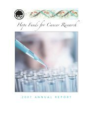 2007 Annual Report - The Hope Funds for Cancer Research