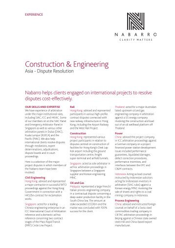 Construction - Dispute Resolution - Nabarro