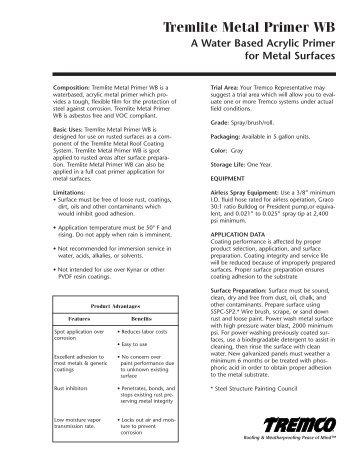 TremLite Metal Primer WB - Canadian Data Sheet - Tremco Inc.