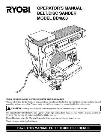Ryobi Belt Disc Sander Manual Image Of Belt