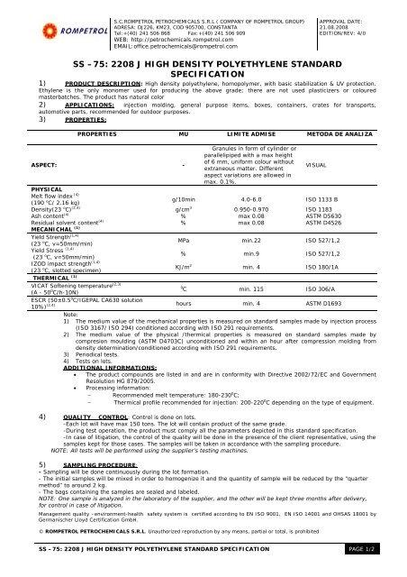 ss –75: 2208 j high density polyethylene standard specification