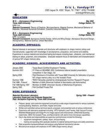 Full Resume - Texas A&M Smart Lab - Texas A&M University