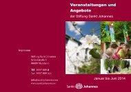 Veranstaltungskalender - Stiftung Sankt Johannes
