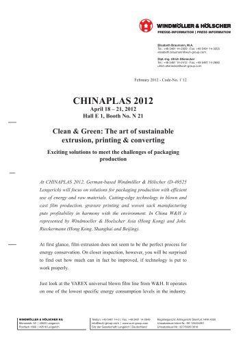 CHINAPLAS 2012 - Windmöller & Hölscher KG