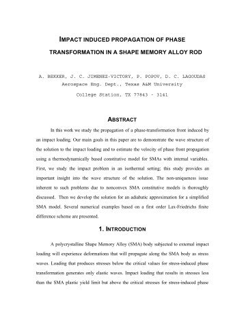 impact induced propagation of phase transformation in a shape ...