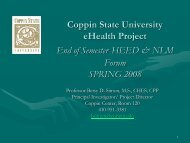 Coppin State University eHealth Project End of Semester HEED ...