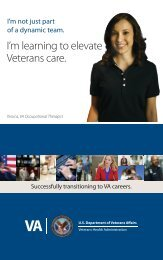 I'm learning to elevate Veterans care. - VA Careers