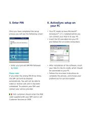 5. Enter PIN 6. ActiveSync setup on your PC - O2
