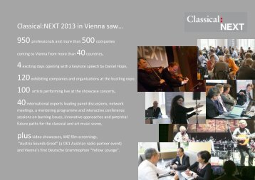 facts & figures of the 2013 edition - Classical:NEXT