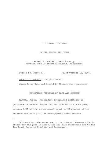 TC Memo. 2005-244 - U.S. Tax Court