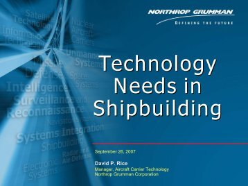 Material Technology Needs in Shipbuilding - NSRP