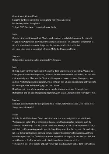 Gespräch mit Waltraud Meier Sängerin der ... - Stephan Suschke