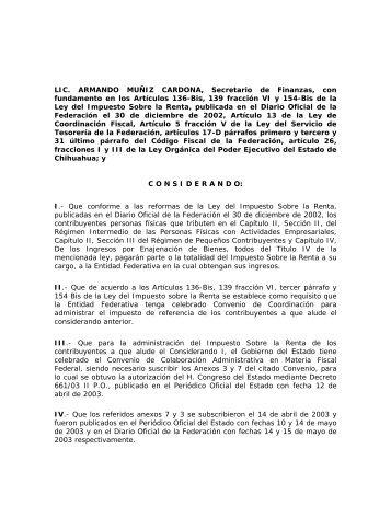 Impuestos Federales. - Gobierno del Estado de Chihuahua