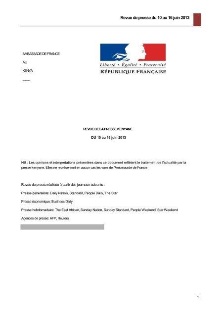 Revue de presse du 10 au 16 juin 20131 - Ambassade de France ...
