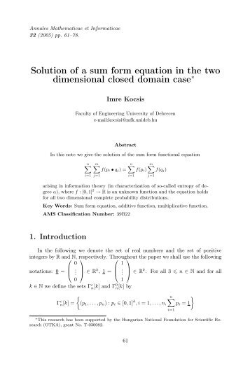 Solution of a sum form equation in the two dimensional closed ...