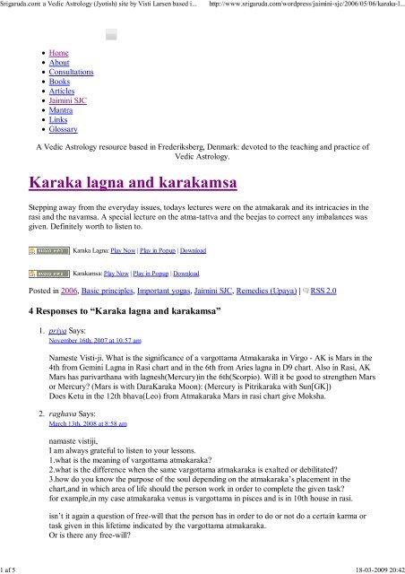 Karaka lagna and karakamsa - Visti Larsen