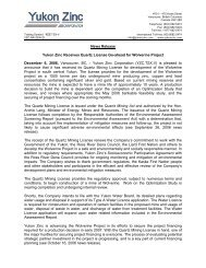 News Release Yukon Zinc Receives Quartz License Go-ahead for ...