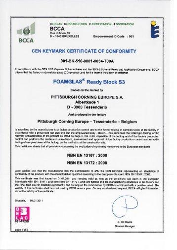 Bcca Cen Keymark Certificate Of Conformity Foamglasâ® S3