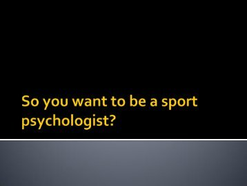So you want to be a sport psychologist? - eGo Main