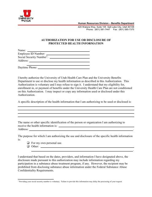 Authorization for Release of Protected Health Information