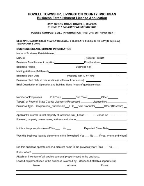 Business License Application - Howell Township