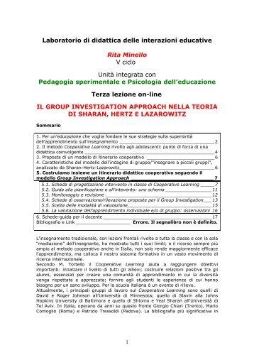 Laboratorio di didattica delle interazioni educative Rita Minello V ...