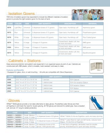 Isolation Gowns / / Cabinets + Stations / / Gloves - TIDI Products, LLC